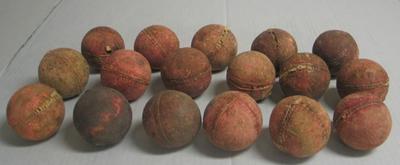 Seventeen cricket balls; Sporting equipment; M15887