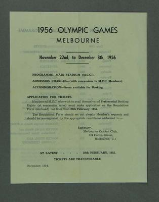 Information Sheet of 1956 Olympic Games Events sent to MCC Members