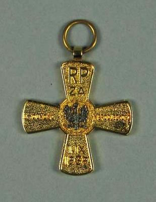 Polish Freedom and Independence Cross, awarded to Hubert Opperman 1985