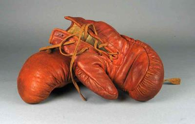 Pair of leather boxing mitts