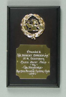 Plaque commemorating 50th Anniversary of Paris-Brest-Paris cycle ride, 1981