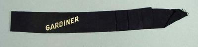 Hat band inscribed 'Gardiner' - worn by Glyn Bosisto, Gardiner Lawn Bowls Club
