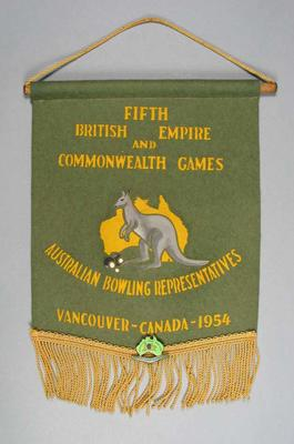 Pennant - 5th British Empire & Commonwealth Games, Australian Bowling Representatives, Vancouver Canada 1954 with attached badge.