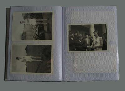 Small blue photograph album relating to William Ager & Footscray Harriers Club