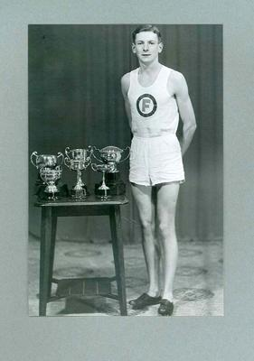 Photograph of runner William Ager with trophies, Footscray Harriers Club; Photography; 2006.4423.72