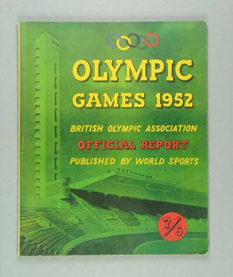 British Olympic Association Official Report of 1952 Olympic Games