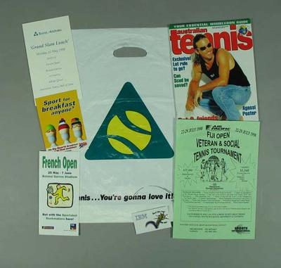 Plastic showbag from Tennis Australia's 'Grand Slam Lunch' May 1998 with items