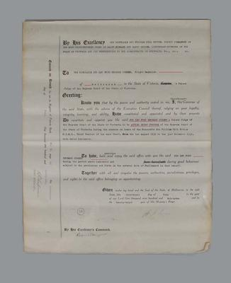 Appointment of Sir Leo Cussen as Acting Chief Justice of the Supreme Court of Victoria from the 1 August 1932 to the 31 December 1932.; Documents and books; M15786