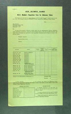 MCC Member's Requisition form for Admission Tickets 1956 Olympic Games - for  Junior Members
