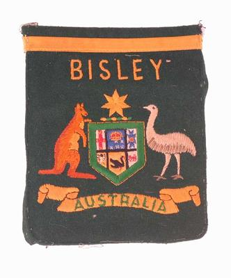 Blazer pocket with Australian Coat of Arms and 'Bisley'  - worn by P.A. Pavey
