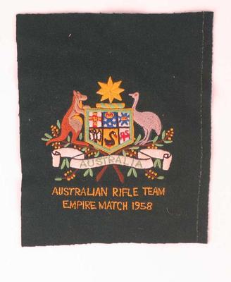 Blazer pocket  with Australian Coat of Arms - Australian Rifle Team Empire Match 1958  - worn by P.A. Pavey