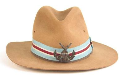 Hat with Victorian Rifle Association badge -  1960 Australian Rifle Team clothing