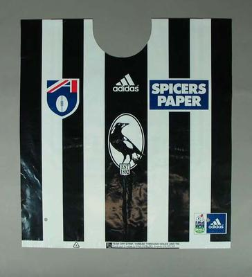 Plastic Collingwood Football Club supporters ponchos