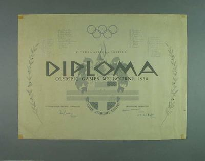 Diploma - Olympic Game Melbourne 1956; Documents and books; 1986.1251.3