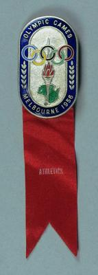 Official Badge No. 1833 issued to W. Ager, 1956 Olympic Games, Athletics; Trophies and awards; 2006.4423.82