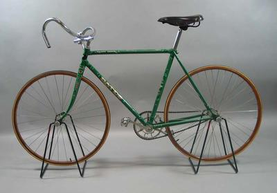 Green 'Vittoria' bicycle marked  'Paddy Hehir',  built and raced by Paddy Hehir, restored by  R L Bates.