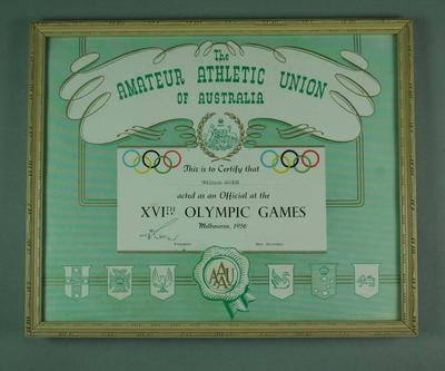 Certificate issued by AAUA certifying W. Ager was as an Official at 1956 Olympic Games; Documents and books; Framed; 2006.4423.85