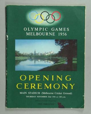 Programme - 1956 Melbourne Olympic Games Opening Ceremony 22/11/56