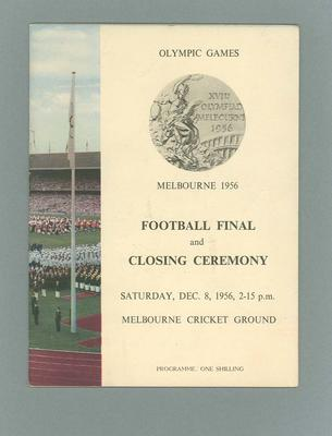 Programme - Football Final & Closing Ceremony 1956 Olympic Games, 8/12/56; Documents and books; 2006.4423.89