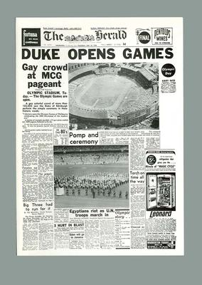 """Facsimile newspaper cover, """"The Herald"""" Olympic Games Opening Ceremony - 22 Nov 1956; Documents and books; 2006.4423.91"""