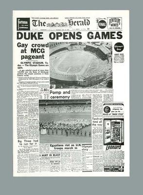 """Facsimile newspaper cover, """"The Herald"""" Olympic Games Opening Ceremony - 22 Nov 1956; Documents and books; 2006.4423.92"""