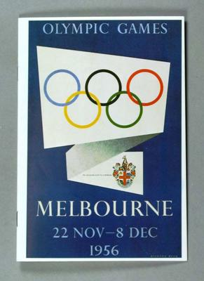 Menu - The Olympians' Club celebrating 30th Anniversary of 1956 Olympic Games Opening, held on 22 November 1986.