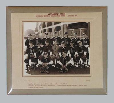 Photograph of Victorian team, Australian Baseball Championships 1947; Photography; 2006.5172