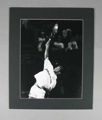 Photograph of tennis player Pete Sampras in action, date unknown