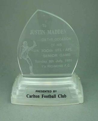 Trophy presented to Justin Madden, 300th VFL/AFL Game - 9 July 1996