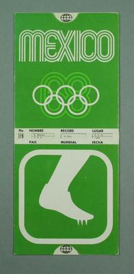 Chart of world & Olympic track and field records, 1968 Olympic Games