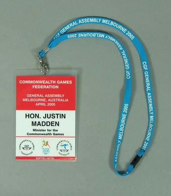 Accreditation for Commonwealth Games General Assembly 2005, issued to Justin Madden