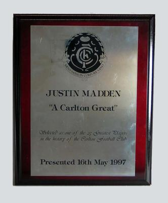 Plaque presented to Justin Madden by Carlton FC, 1997; Trophies and awards; 2006.5181.13