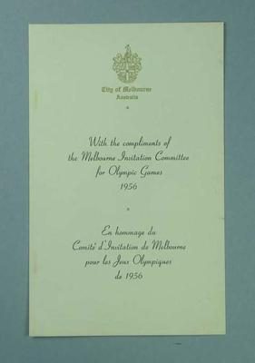 Prospectus proposing Melbourne as the host city for the 1956 Olympic Games; Documents and books; 1989.2095.12.1