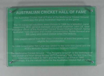 Glass sign, Australian Cricket Hall of Fame; Building and grounds; 2006.5183