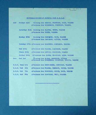 Roster of medical staff attending 1956 Olympic Games soccer events