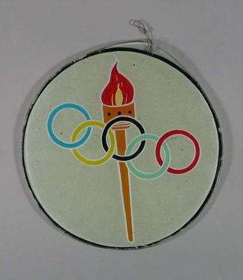 Painted glass, Olympic Torch & Rings design c1950s
