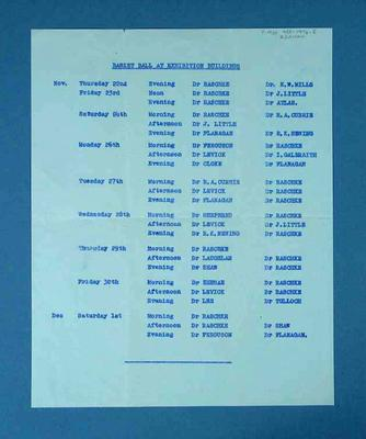 Roster of medical staff attending 1956 Olympic Games basketball events