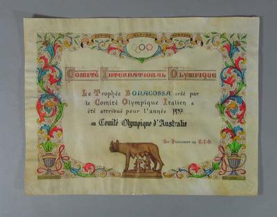Certificate awarded to Aust Olympic Committee by Italian Olympic Committee, 1957