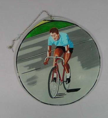 Painted glass, depicts cyclist Peter Nelson c1950s