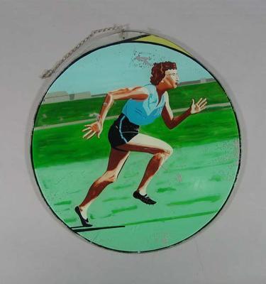 Painted glass, depicts athlete Marjorie Jackson c1950s