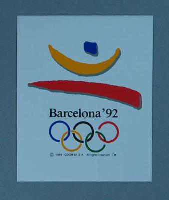 Sticker featuring the 1992 Barcelona Olympic Games emblem; Games and toys; 1989.2080.18