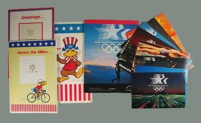 Group of 13 paper stationery items with 1984 Los Angeles Olympic Games branding