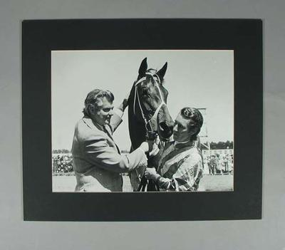 Photograph of trainer Bart Cummings and jockey Harry White with Think Big, c1974-75