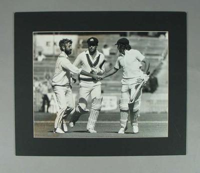 Photograph of Greg & Ian Chappell with Mike Brearley, Australia v England Test - Feb 1980