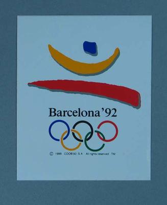 Sticker featuring the 1992 Barcelona Olympic Games emblem; Games and toys; 1989.2080.19
