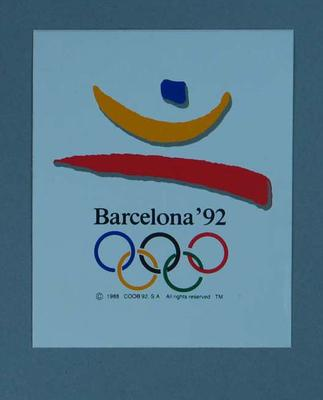 Sticker featuring the 1992 Barcelona Olympic Games emblem; Games and toys; 1989.2080.20