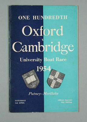 Programme for One Hundredth Oxford v Cambridge Boat Race, 1954