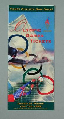 Brochure, 1996 Atlanta Olympic Games ticket sales; Documents and books; 1997.3272.18