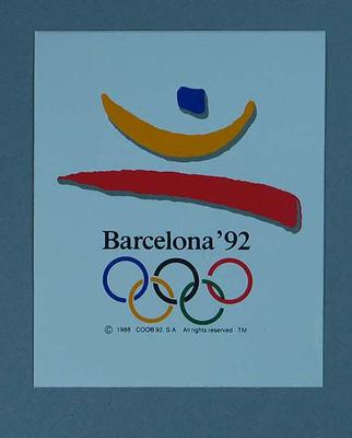 Sticker featuring the 1992 Barcelona Olympic Games emblem; Games and toys; 1989.2080.21