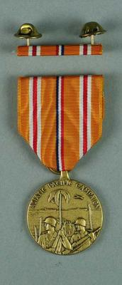 Facsimile US First Marines American Asiatic Pacific Campaign medal and bar, associated with the military occupation of the MCG